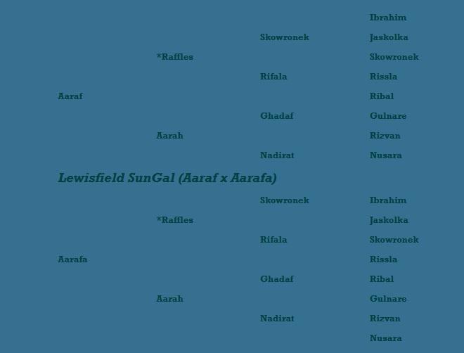 Lewisfield SunGal pedigree